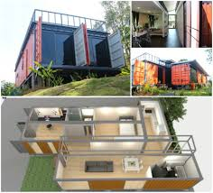 shipping container house with atrium and parallel offset