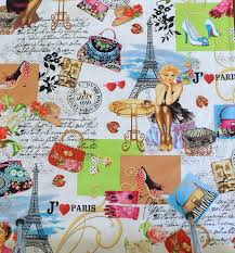 themed material cotton fabric colorful fabric eiffle tower fabric i