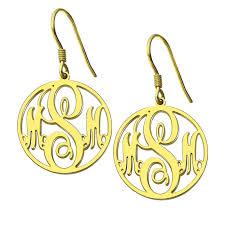 Gold Monogram Earrings Wholesale Personalized Circle Monogram Earrings Gold Color