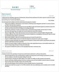 Recruitment Manager Resume Sample by 42 Manager Resume Templates Free U0026 Premium Templates