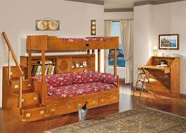 bedroom modern dark cherry wood frame bunk bed with staircase and