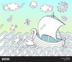 sailing seas doodle cutout boat vector u0026 photo bigstock