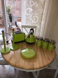 lime green kettle toaster canisters mug holder kitchen roll
