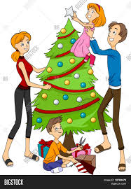 family decorating christmas tree clipart clipartxtras