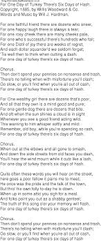 time song lyrics for 10 for one day of turkey there s six days