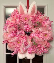 deco paper mesh deco paper mesh easter bunny wreath with hydrangeas and daisies