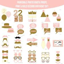 photo booth props diy instant second birthday pink gold glitter printable