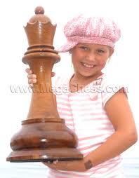 white teak queen for chess set with 24