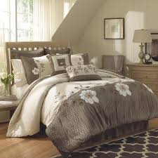 White And Cream Bedding Gray Cream Bedding Set With White Floral Pattern Placed On The