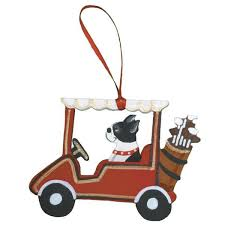 golf cart breed ornament dogs on the move