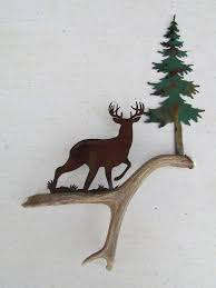 c107 whitetail at a stance authentic deer antler u0026 metal wall