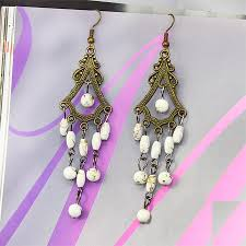Costume Chandelier Earrings Quality Dangle Charm Beaded Chandelier Costume Antique Bronze