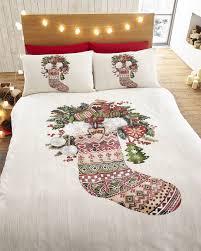 father christmas santa claus duvet quilt cover xmas bedding linen