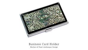 Bling Business Card Holder Business Card Holder Inlaid With Mother Of Pearl Arabesque Design