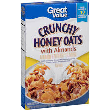 great value crunchy honey oats cereal with almonds 18 oz