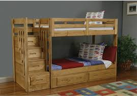 Unfinsihed Ak Wood Kids Bunk Bed With Stair And Storage Drawwer - The brick bunk beds