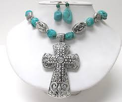 wholesale cross necklace pendants images Wholesale large cross pendant chunky turquoise stone link necklace JPG