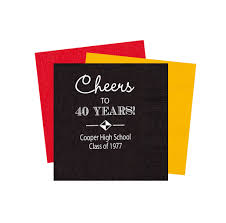 high reunion napkins class reunion napkins personalized