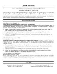 Example Finance Resume by Example Finance Associate Resume Free Sample