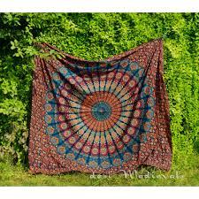 blue maroon hippie mandala tapestry