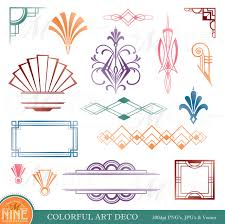 colorful art deco design elements digital clipart instant
