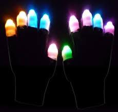 gloves black ghost pair of multicolor led lightshow gloves