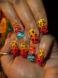 ombre funky animal print nail art design my nail art designs