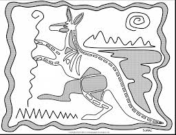 spectacular aboriginal art coloring pages with kangaroo coloring