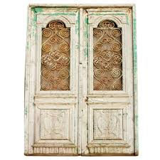 antique french colonial painted pine and iron double doors eron