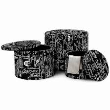 langria 3 piece black nesting round french script patterned fabric