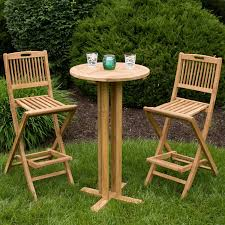 High Top Patio Furniture Set - 3 piece teak outdoor pub set outdoor