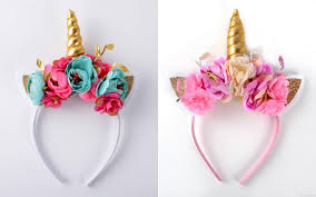 floral accessories multi color floral unicorn horn ears headbands unicorn crown