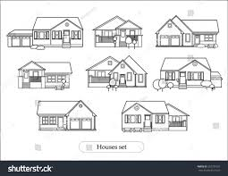 set houses drawings stock vector 252737557