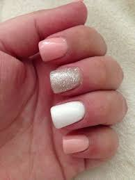 pink glitter and white acrylic nails this would match my hc