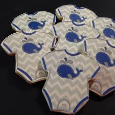 onesie whale theme baby shower cookies 1 dozen minimum 2