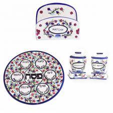seder matzah passover seder plates set and matzah tray