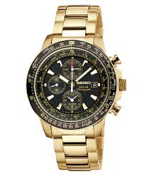 gold tone stainless steel bracelet images Seiko watch men 39 s chronograph solar aviator gold tone stainless jpg