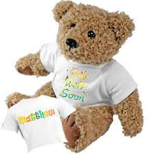 get well soon teddy beautiful personalised get well soon teddy and gift bag add