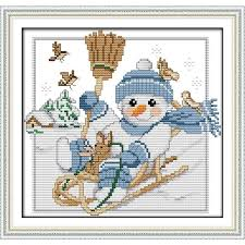 wedding gift kits sunday cross stitch kits mulina print christmas snowman