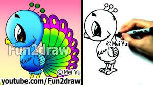 fun2draw how to draw a cartoon peacock draw animals cute art