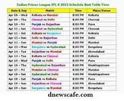 2016 ipl match list schedule of ipl8 t20 2015 battle begeins d news cafe