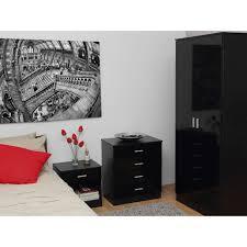 Oak Veneer Bedroom Furniture by Ottawa Black Gloss U0026 Black Oak Veneer 3 Piece Bedroom Set