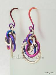 niobium earrings daisykreates sterling silver and niobium chainmaille mobius