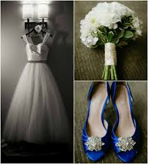 white wedding dress and blue shoes