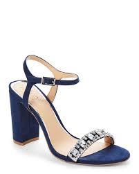 badgley mischka navy hendricks embellished block heel sandals in