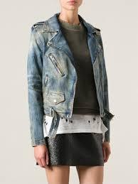 biker jacket women diesel denim biker jacket in blue lyst