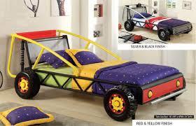 Kids Twin Bed Baja Kids Yellow Red Twin Metal Racing Car Bed
