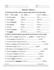 adjective and noun agreement 7th 8th grade worksheet lesson planet