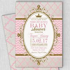 princess pink gold baby shower invitation fast customized