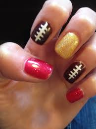 chiefs nation nfl nail art nails shellac 2013 red gold football